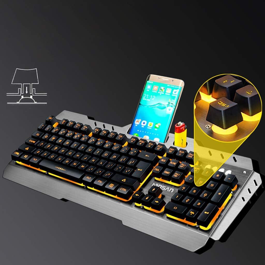 Resolution 3200dpi Color : Orange Light Office Keyboard Portable Gaming Keyboard Office Keyboard Portable Gaming Keyboard Game Mechanical Keyboard Set Wired Computer Notebook External Keyboard
