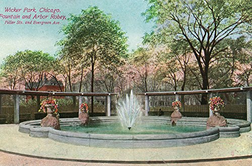 Chicago, Illinois - Wicker Park View of the Fountain and Arbor Robey (9x12 Fine Art Print, Home Wall Decor Artwork Poster)