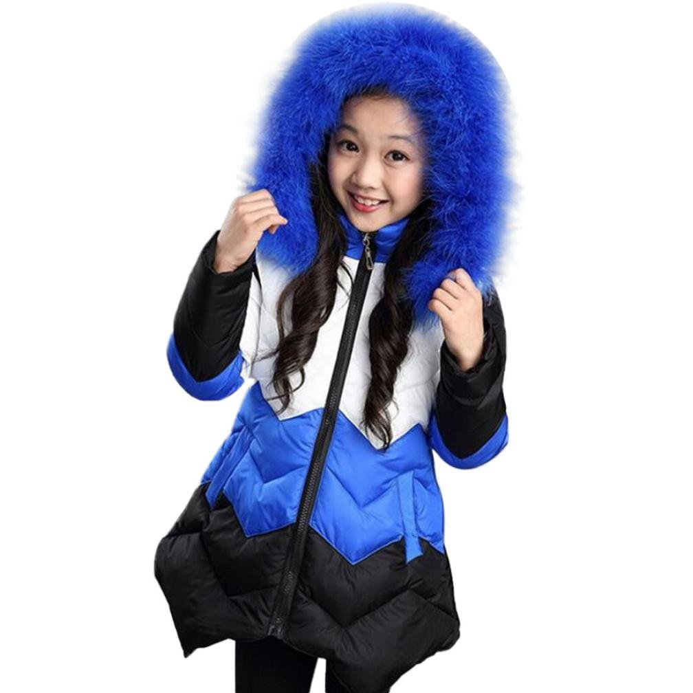 GBSELL Little Girl Winter Warm Clothes Zipper Pocket Colorful Hooded Coat Jacket Outwear (5T, Blue)