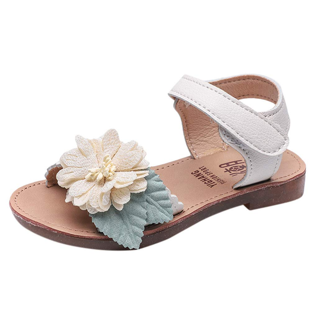 Cloudro Kids Baby Girls Flower Beach Sandals Soft Summer Flat Shoes for 1-7 Years