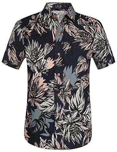 SSLR Men's Hawaiian Button Down Casual Short Sleeve Linen Shirt (Medium, Blue) -