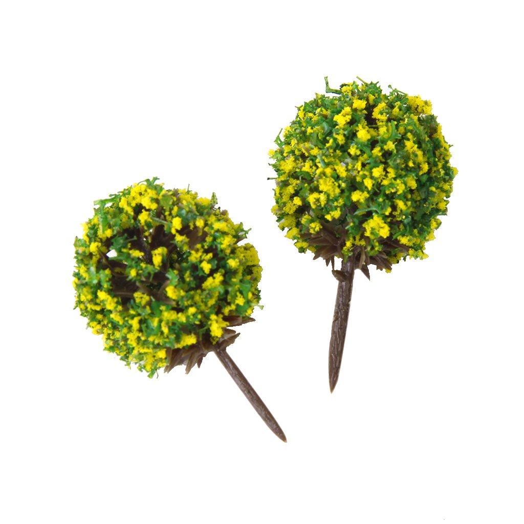 50pcs  模型用 樹木 花付き 建築鉄道電車模型 緑の木 高さ3.5cm スケール:1/100 (黄色花) B00KA2Y3BK