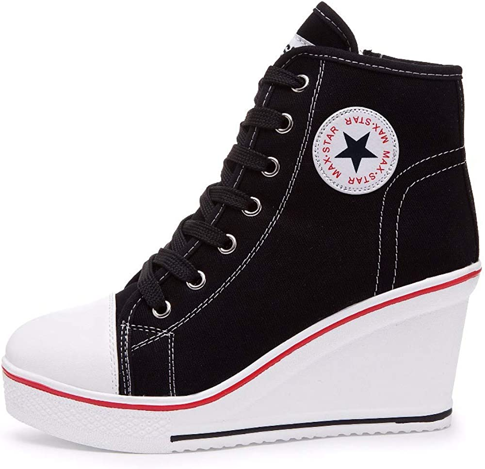 Canvas High Tops Trainers, Women Ladies