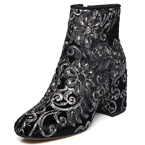 Black Chunky Suede Round colorful Heel Women's Ankle Sparkling Leather Boots Flowers Seven Sexy Handmade Nine Toe wYZqagx