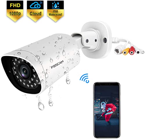 Foscam QJ2 Outdoor Bullet Security Camera, 1080P POE IP Camera, 66ft Night Vision Surveillance Camera with AI Human Detection, IP66 Weatherproof, Cloud Service,Supports Alexa White