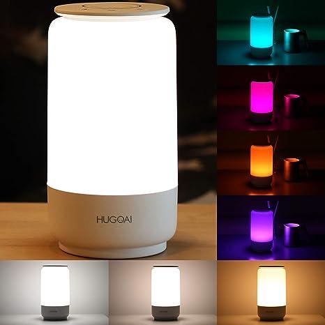 Amazon.com: HUGOAI Lámpara de mesa LED, lámpara de noche ...