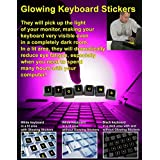 KEYBOARD REPLACEMENT - Glowing fluorescent stickers - LARGE LETTERING - Work easily and type faster even in dimly lit spaces! See your keyboard clearly day & night - English - Neon Green…