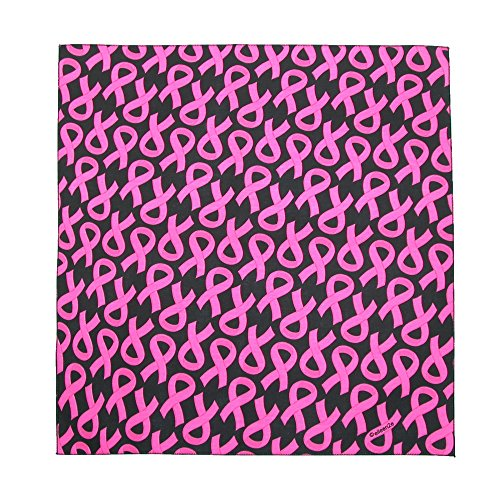 Breast Cancer Bandana (CTM Women's Cotton Pink Ribbon Breast Cancer Awareness Bandanas,)