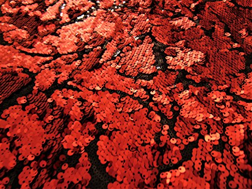 Red & Black Full Sequin Spandex 2 way Stretch Vine Pattern 56