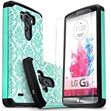 LG G3 Case, Starshop [Slim Armor] Hybrid Dual Layers Rugged Impact Advanced Armor Soft Silicone Cover With [Premium HD Screen Protector Included](Teal Lace)