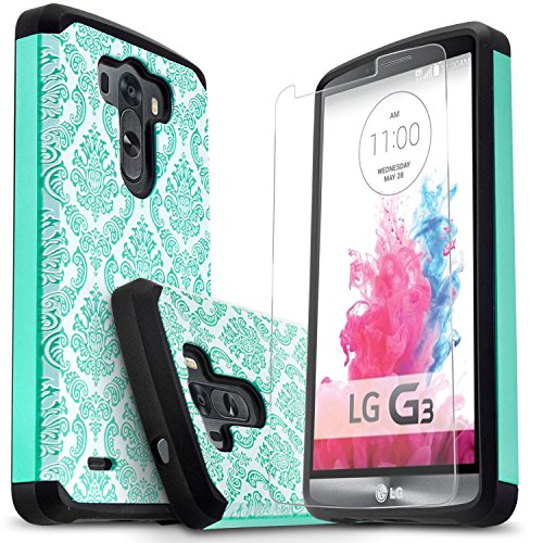 LG G3 Case, Starshop [Shock Absorption] Dual Layers Impact Advanced Protective Cover With [Premium HD Screen Protector Included] [Teal Lace]