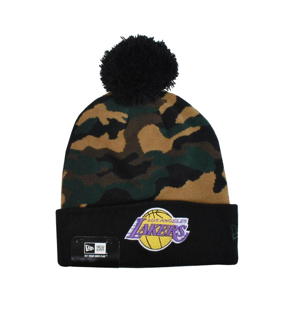 New Era Nba Los Angeles Lakers Knit Beanie Unisex Hat Woodcamo Black by New Era