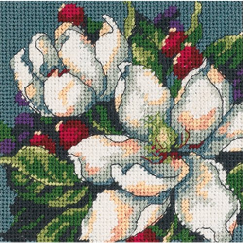 (Dimensions Needlepoint Kit, Magnolias Needlepoint, 5'' W x 5'' H )