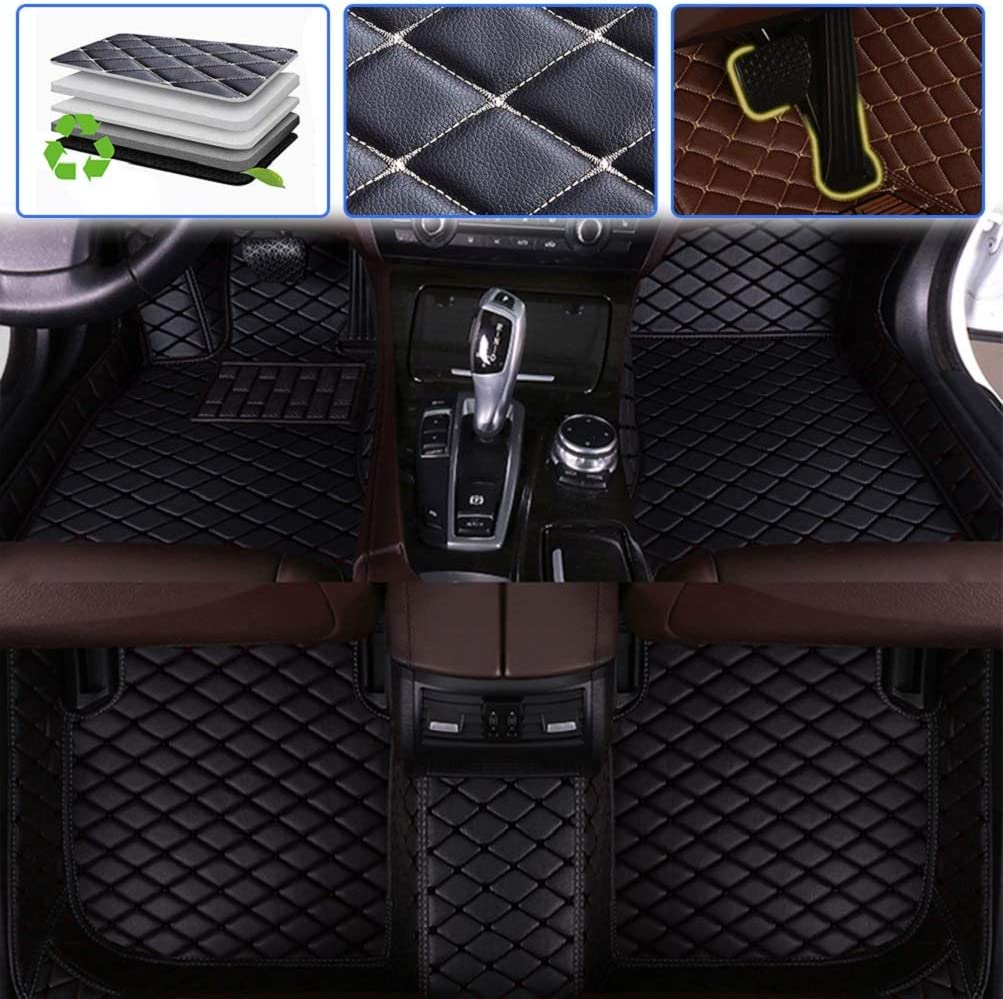 Custom Car Floor Mats for KIA 2004-2008 Opirus Waterproof Non-Slip Leather Carpets Automotive Interior Accessories 1 Set Black