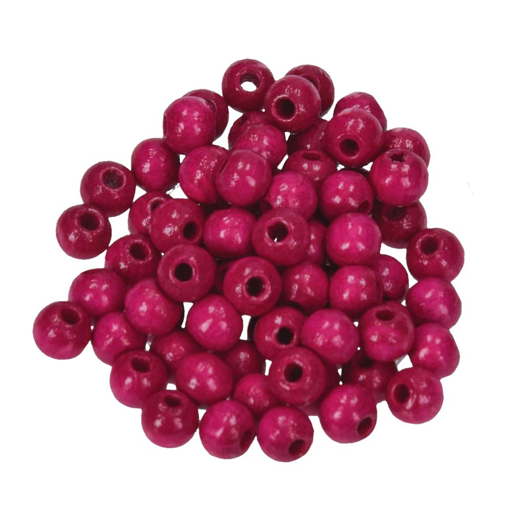 Efco 6 mm 110-Piece Wooden Beads Hole, Bright Pink