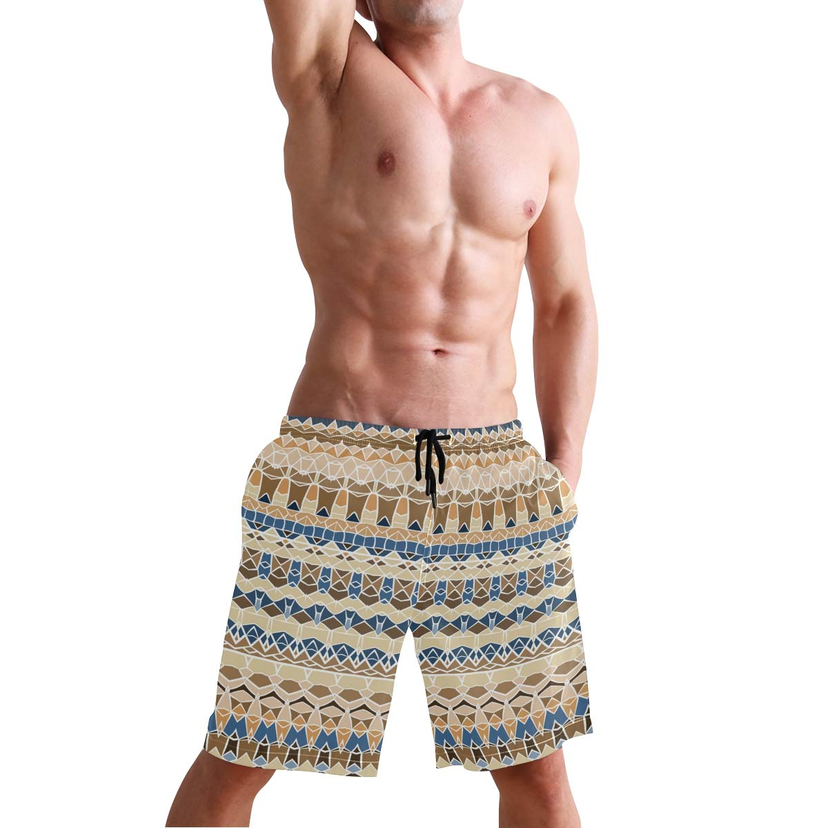 Mens Beach Swim Trunks Africa Art Boxer Swimsuit Underwear Board Shorts with Pocket