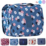 Makeup Bag for Women & Girl, Large Multifunction Shower Pouch with 2 Cosmetic Bottles, Portable Waterproof Hanging Toiletry Bags, Travel Luggage Organizer (blue flower)