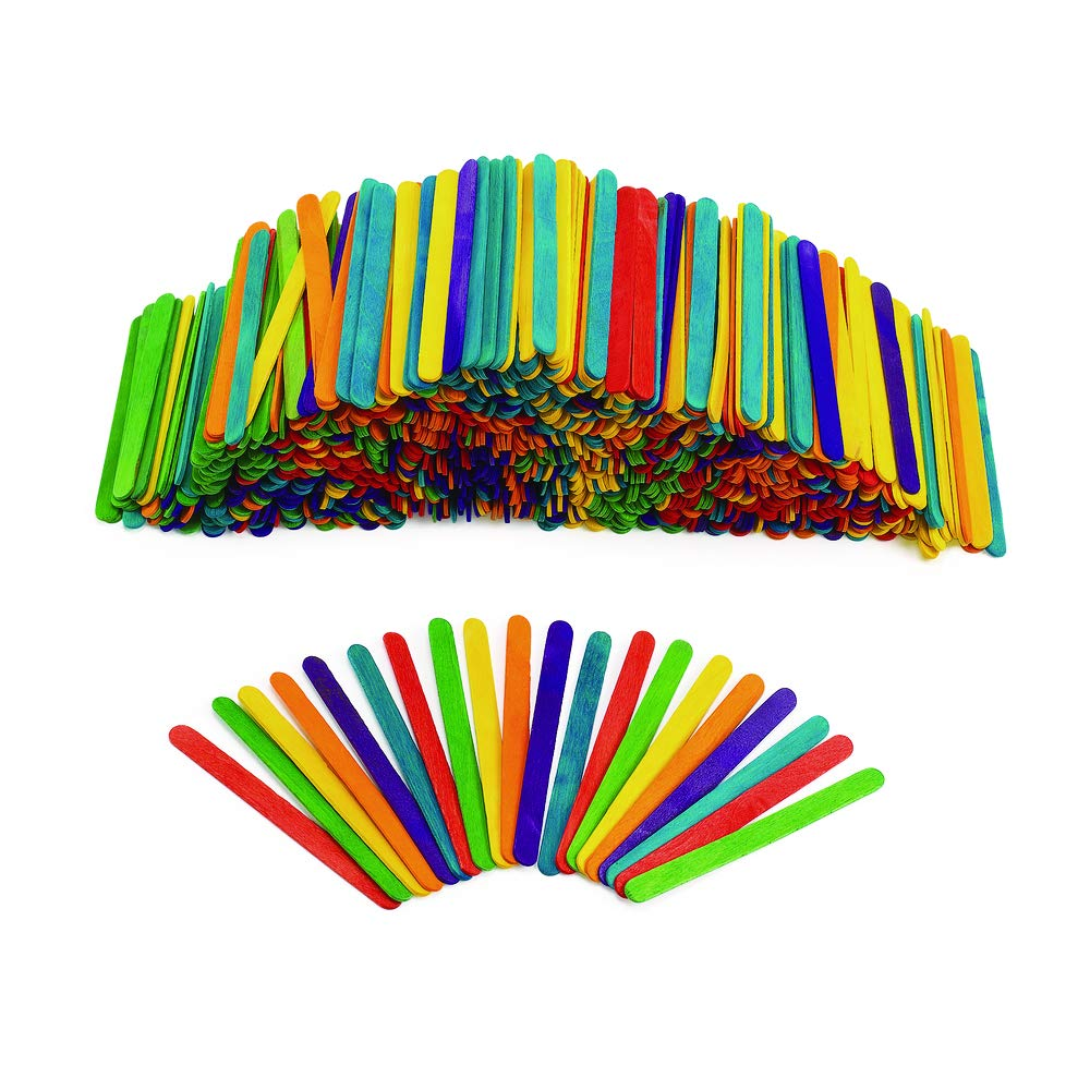 200 Pcs Wood Popsicle Sticks Assorted Colors Wooden Craft Sticks 4-1//2 x 3//8 New