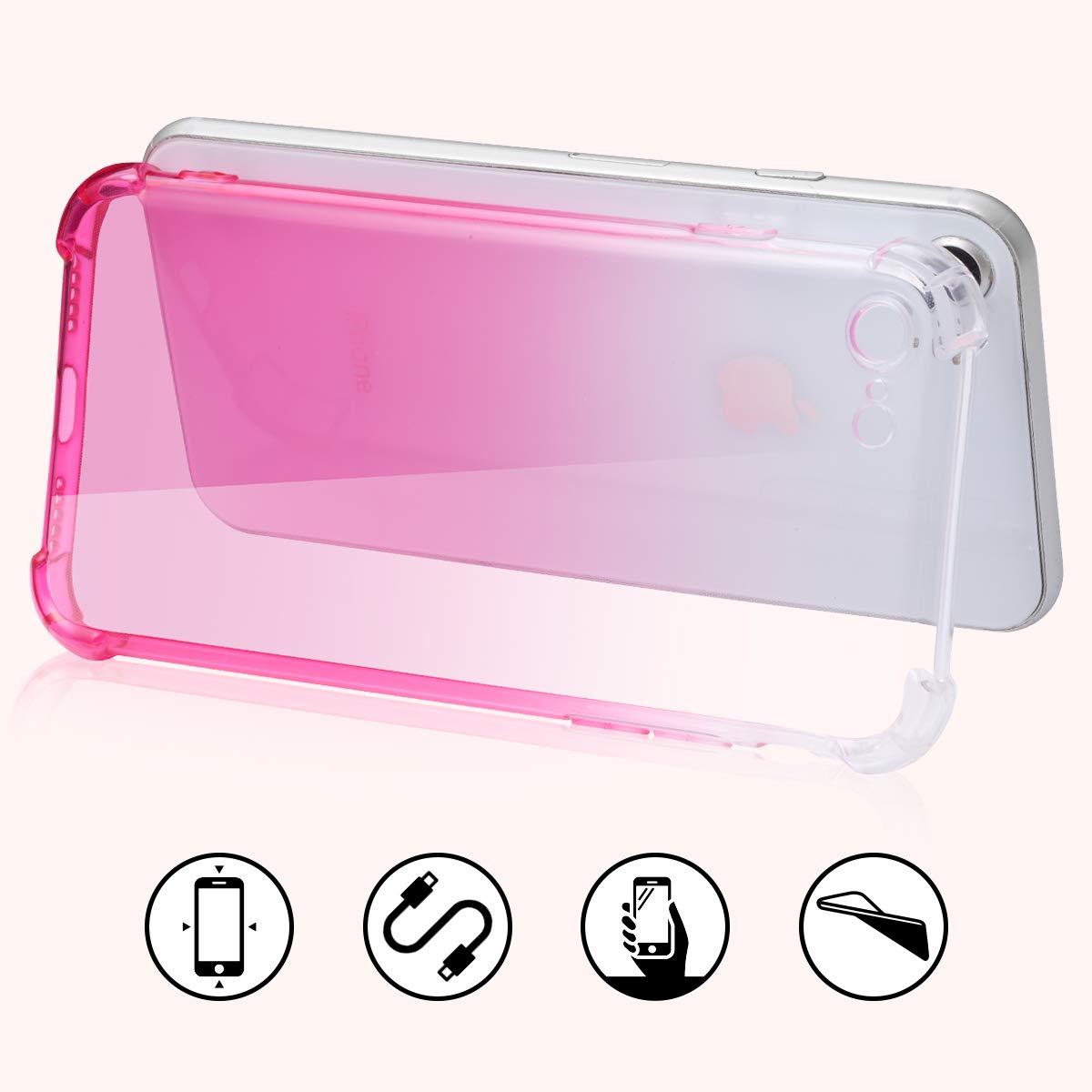 Coque en Couleur D/égrad/é avec de Double Couche Bumper en TPU Souple Compatible avec iPhone Samsung iPhone 7//8, Bleu JJPRIME