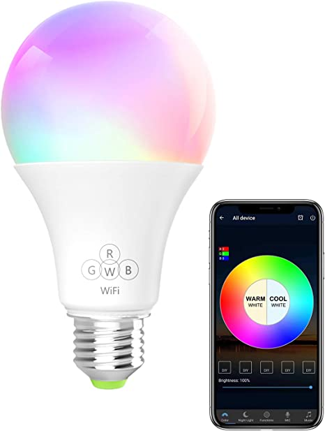 BERENNIS Smart Light Bulb Compatible with Alexa and Google Home RGBW Wi-Fi LED Bulb 6.5W 500LM Dimmable Multicolored Lights No Hub Required