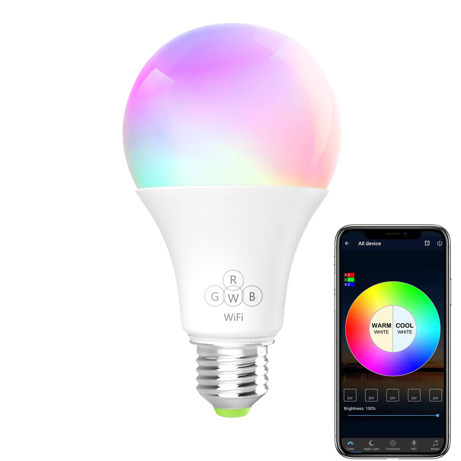 BERENNIS Smart Light Bulb Compatible with Alexa and Google Home BN-SLB-A Dimmable Multicolored Lights RGBW Wi-Fi LED Bulb No Hub Required 6.5W 500LM