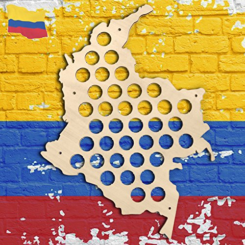 Republic Of Colombia Wooden Bottle Cap Display Map Beer Cap Map Decorative Map Novelty Wall Mounted Wood Map Home Decor Bar Sign Cave Gift