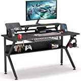Tribesigns Ergonomic Gaming Desk with Monitor Stand, 47 inch K-Shaped Computer PC Gaming Desk with Storage Shelf, Game…