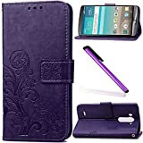 LG G3 Case,G3 Cover,G3 Wallet Cover,LEECO Luck Clover 3D Card Slots Wallet PU Leather Protective Magnetic Closure Impact Resistant Folio Case Cover for LG G3 [Luck] Purple