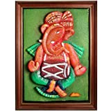 Relief Resin Ganesha with Dholak on Wood Frame