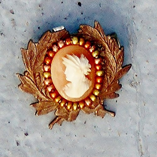 Hand Carved Shell Cameo Brooch Pendant of Ceres, with Wheat in Hair, Rare Facing Left, Set on Vintage Brass Openwork Wreath w/ Bronze Many Color Surround.