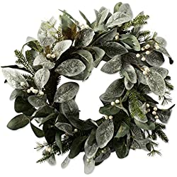 "DII Decorative Flocked Leaves & Berries 20"" Winter Wreath for Front Door or Indoor Wall Décor to Celebrate Christmas & Winter Season"