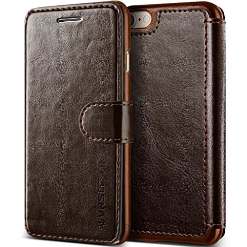 VRS Design Case for Apple iPhone 7 / Apple iPhone SE2 SE 2 iPhone SE 2020 (4.7″ Inch) Layered Dandy Genuine Classic Leather Wallet Finish Coffee Brown Color