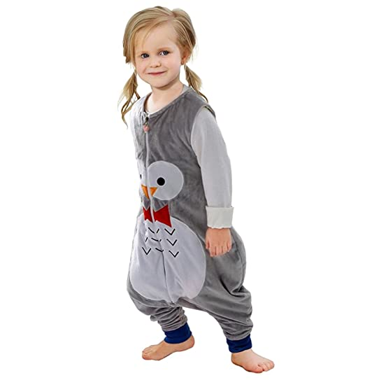 ZEEUAPI - Saco de dormir con piernas de franela para bebés niños infantíl Ropa para dormir (S (1-3 años), Gris-Búho)
