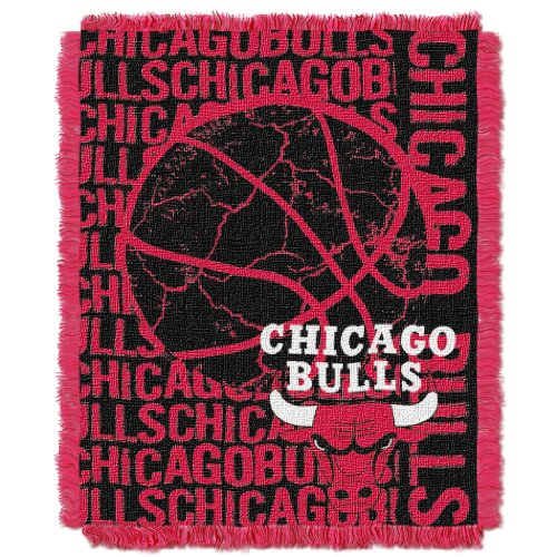 Officially Licensed NBA Chicago Bulls Double Play Jacquard Throw Blanket, 48