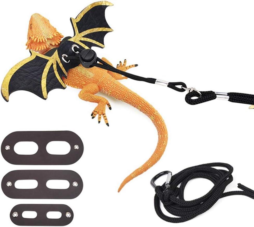 WZ Correa Ajustable Lagarto, Reptil 3 Tamaños Arnés De Cuero Bearded Dragon Cuerda con Frescos Alas para Anfibios Camaleones Pequeños Animales De Animal Doméstico