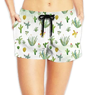 Coco Popcorn Women's Cactus Wallpaper by Erika Firm Boardshorts Swim Trunks With Pockets