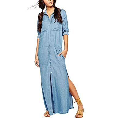 7c6a9d6a18 Women Denim Shirt Dress Long Sleeve Lapel Side Split Maxi Dress Pockets Long  Dress (Asian L UK 12