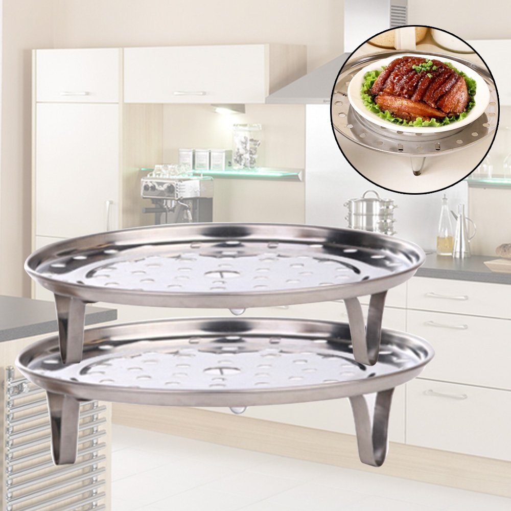 Silver Tone Stainless Steel Steaming Steamer Rack Tray Stand for Cooker (8.5 Inch Diameter) by Sanwood (Image #2)