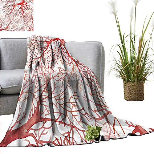 WinfreyDecor Throw Blanket Mildew Resistant Coral Multi Color Watercolor Branchs Fall 70