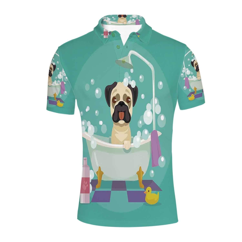 Nursery Durable Polo Shirt,Pug Dog in Bathtub Grooming Salon Service Shampoo Rubber Duck Pets in Cartoon Style Image for Men,M
