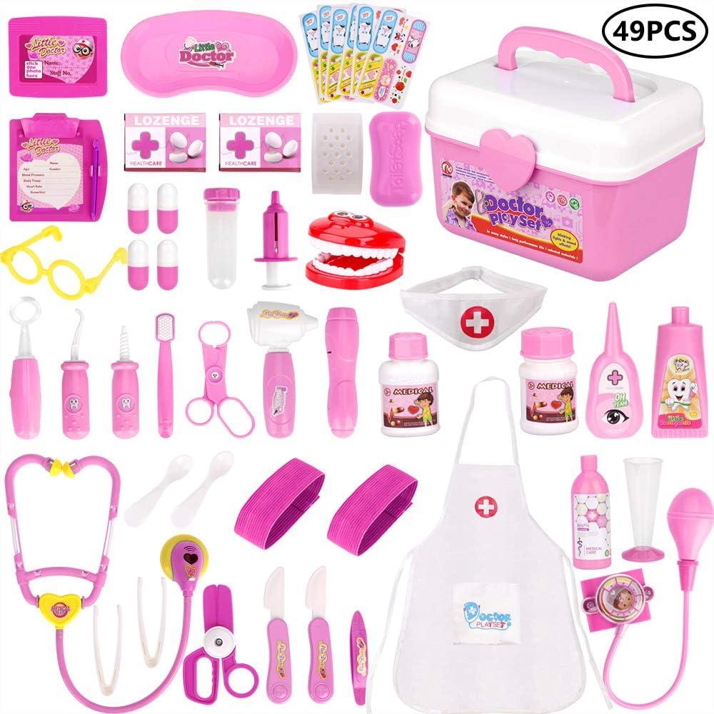 Rosa Kit Dottore Giocattolo Infermiere per Bambini Ruolo Giocattolo Luci e Suono Stetoscopio per Bambina Oltre 3 Anni Faburo 49 Pezzi Valigetta del Medico Gioco di Ruolo per Bambini