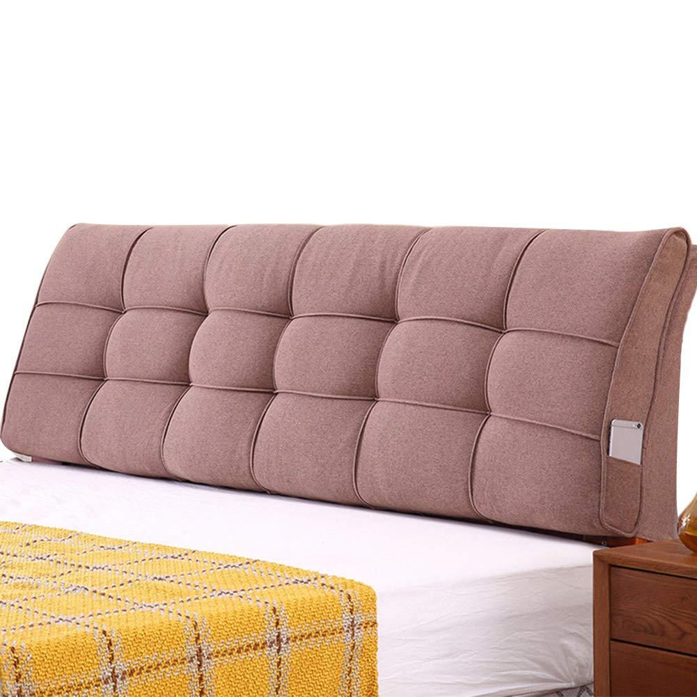LIANGLIANG Rückenlehne Bett Kissen Home Schlafzimmer Big Back Kopfteil Softpack Rückenstütze aus weichem Flachsstoff, 3 Farben, 21 Größen (Farbe : Brown#B, größe : 130x58x10cm)