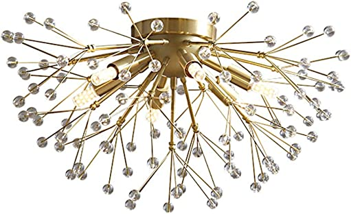 Modo Lighting Modern Firework Chandelier Light 6-Light Dandelion Crystal Sputnik Ceiling Light Fixtures Metal Brushed Brass Ceiling Lamp