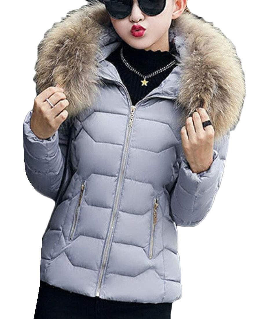 3 YYear Women's Packable Quilted Faux Fur Hood Zipper Down Coat Puffer Jacket