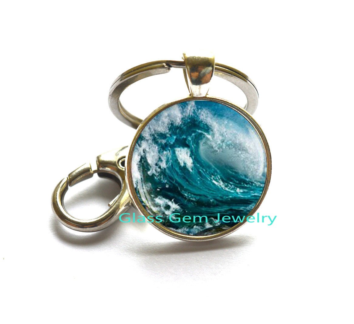 Ola de mar llavero, llavero, diseño de onda de agua de onda ...