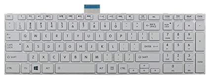 UBN Toshiba Satellite C50 C50D Laptop Replacement Keyboard  White  Replacement Keyboards for Laptops