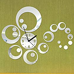 DIY Wall Clock Made of Acrylic Material, Rings and Circles, Looks Like Mirror, Modern Design, for Home Living Room Bedroom Kitchen Baby Child Novelty Luxury Crystal Wall Silent Watch Extra Large, New, Silver