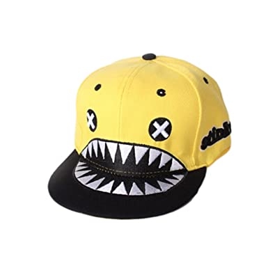 bd082a8224c Image Unavailable. Image not available for. Colour   YELLOW Shark Cool  Fashion Adjustable Boys Girls Unisex Flat Cap Hat
