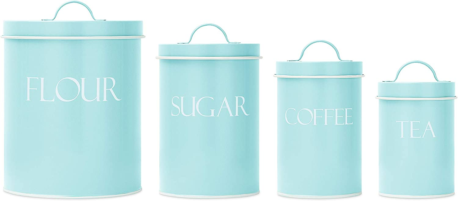 Mint Metal Nesting Kitchen Canisters | Air Tight Lids | Kitchen Decor Canister Set | Vintage Farmhouse Design | Perfect for flour, Coffee, Tea & Sugar | Storage Jars | Different Sizes | Set of 4
