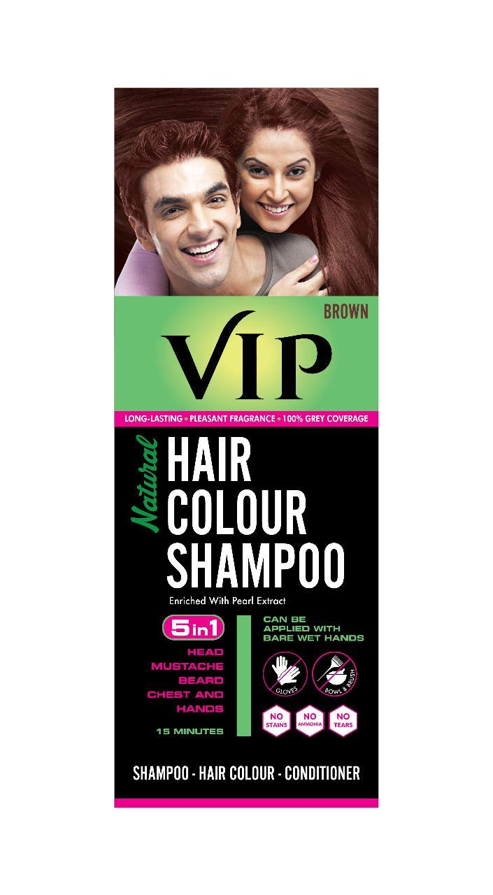 Buy Vip Natural Hair Colour Shampoo Brown 180 Ml Online At Low Prices In India Amazon In